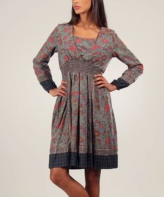 Another great find on #zulily! Gray & Pink Patchwork Midi Dress #zulilyfinds