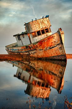 old boat, reflection