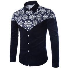 2017 Men Printed Shirt Long Sleeve Slim Fit Floral Painted Blouse Shirts Casual Dress Shirt Plus Size Camisas Masculinas African Shirts For Men, African Dresses Men, African Clothing For Men, African Wear, Nigerian Men Fashion, African Men Fashion, Polo Shirts With Pockets, Casual Shirts For Men, Men Casual