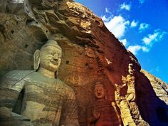 The Yungang Grottoes(Chinese Buddhist temple grottoes near the city of Datong in the province of Shanxi.)