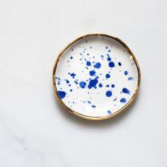 Ring Dish in Cobalt Splatter with Gold Rim – Suite One Studio