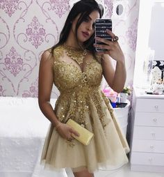 Elegant Lace Appliques Gold Tulle Prom Homecoming Dresses 2017