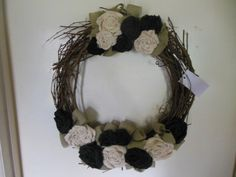 Black & White Burlap Rose Wreath by LMCsweetdream on Etsy, $45.00