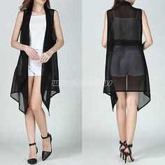sleeveless blazer vest long cardigan chiffon chaleco mujer women's vest summer colete swimsuit simwear beach cover up suit yelek Vest Coat, Black Vest, Sleeveless Blouse, Chiffon, Lady, Womens Fashion, Casual Summer, Cosplay Costumes, Clothes