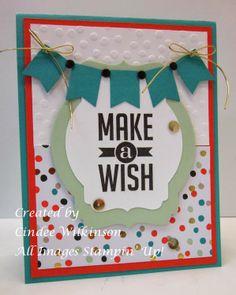 Just Sponge It: Good as Gold Card Kit, Banner Punch, (SAB), Decorative Dots Embossing Folder, (SAB), Deco Labels Framelits, Perfect Pennants stamp set, Gold Sequin Trim