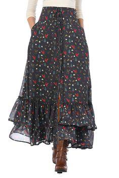 X-mas print georgette tiered maxi skirt - - X-mas print georgette tiered maxi skirt The cold Women's Fashion Clothing and Custom Hijab Fashion, Fashion Outfits, Women's Fashion, Fashion Women, Long Skirt Outfits, Long Skirt Style, Blouse And Skirt, Winter Dresses, Dresses Online