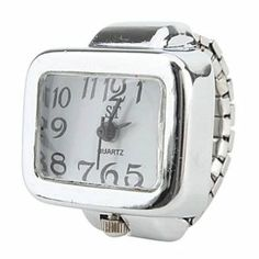 Tanboo Women's Large Square Dial Size White Alloy Analog Quartz Ring Watch (Silver) by Tanboo Watchs. $4.99. Sports Fan Watch. Gender:Women'sMovement:QuartzDisplay:AnalogStyle:Ring WatchesType:Casual WatchesBand Material:AlloyBand Color:SilverCase Diameter Approx (cm):2.4Case Thickness Approx (cm):0.7Band Length Approx (cm):8.5Band Width Approx (cm):0.7