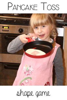 Pancake Flipping and tossing shape game for preschoolers Gross Motor Activities, Preschool Science, Activities For Kids, Nursery Activities, Preschool Projects, Classroom Activities, Shape Games For Kids, Math For Kids, Happy Mom