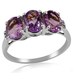 Three Stone Ring Pink Amethyst White Topaz Prong Set 925 Sterling Silver Jewelry #Unbranded #ThreeStone #ValentinesDay