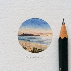 Day 241 : Table Mountain from Blaauwberg Beach. 28 x 28 mm. (at Blaauwberg Beach) Mini Drawings, Colorful Drawings, Art Drawings, Circle Drawing, Circle Art, Watercolor Circles, Watercolor Paintings, Art Inspo, Art Folder