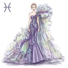 Pisces by Shamekh Bluwi pisces Zodiac Haute Couture Exquisite Fashion Drawings Illustration Mode, Fashion Illustration Sketches, Fashion Sketches, Zodiac Art, Pisces Zodiac, Zodiac Signs, Scorpio Signs, Fashion Art, Fashion Show