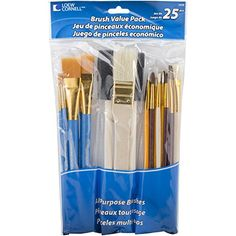 Loew-Cornell Brush Set Pack of 25 Multi Color for sale online Photo Onto Wood, Cleaning Buckets, Acrylic Paint Brushes, Mirrored Picture Frames, Glitter Mason Jars, Glitter Pumpkins, Diy Cardboard, Diy Pumpkin, Arts And Crafts Supplies