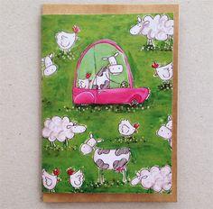 miss moo greeting card, farm animals