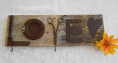 LOVE  Rustic Barnwood Sign with Found Metal by thejoyfulnest, $25.00