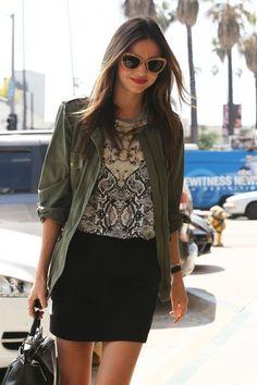 Miranda Kerr in gold glitter Miu Miu shades, Velvet X Lily Aldridge jacket and Josh Goot shirt.