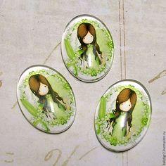 Купить кабошон стекло Девочка, 18 х 13 мм, стекло, цвет зеленый, 1 шт