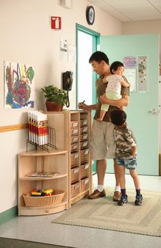 Great option for parent sign-in. I just like the journal rack. Great option for parent sign-in. I just like the journal rack. Daycare Setup, Daycare Design, Daycare Organization, Daycare Forms, Daycare Ideas, Daycare Cubbies, Daycare Contract, Daycare Crafts, Home Daycare Rooms