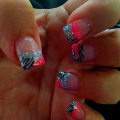 crazy nails, that are supper cute Get Nails, Love Nails, Hair And Nails, Colorful Nail Designs, Cute Nail Designs, Zebra Nail Designs, Turquoise Nail Designs, Crazy Nails, Fancy Nails