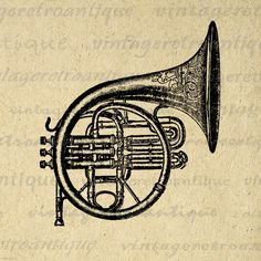 Printable French Horn Graphic Image Brass Instrument Download Music Digital Antique Clip Art. Vintage high resolution digital image download from antique artwork for transfers, printing, papercrafts, and many other uses. Great for etsy products. This graphic is large and high quality, size 8½ x 11 inches. Transparent background version included with all images.