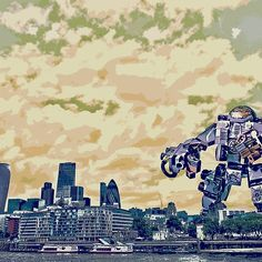 The spectre of Brexit hangs over the city! The Spectre, Eu Referendum, Robots, Sci Fi, Skyline, City, Movie Posters, Science Fiction, Robot