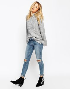 Image 4 ofASOS Chunky Jumper With High Neck And Moving Rib