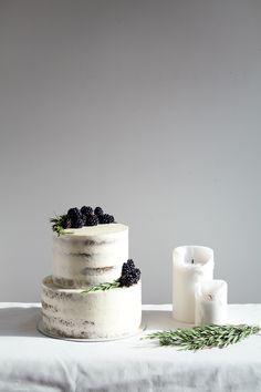 Semi Naked Chocolate, Lime & Rosemary Cake w/ Blackberries
