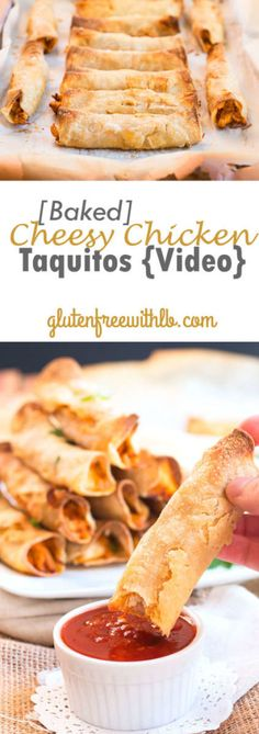 Baked Cheesy Chicken Taquitos with a Video Tutorial | A quick and easy recipe for taquitos that are healthier!!  These taquitos are baked, not fried, and are gluten-free!