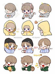 Exo Stickers, Cute Laptop Stickers, Baekhyun Fanart, Kpop Fanart, Girl Scout Logo, Exo Cartoon, Exo Anime, Loli Kawaii, Exo Fan Art