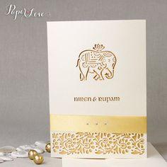 Cream Metallic Elephant Laser Cut Indian Hindu by PaperLoveAsia