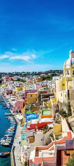 Procida is an island in the Bay of Naples in southern Italy. Its picturesque landscape and somewhat scruffy charm are among the reasons it still attracts travelers. #ItalyTravel