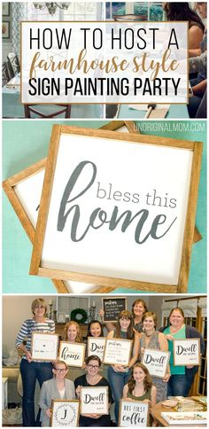 How to host a sign painting party to make farmhouse style painted signs So much fun sign painting party farmhouse signs ladies craft night craft party craft night id. Girls Night Crafts, Crafts For Girls, Craft Day, Craft Night, Craft Gifts, Party Fotos, Diy Inspiration, Paint And Sip, Craft Club