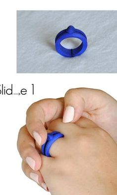 """Slide 1 Ring: """"Slide 1"""" derives inspiration from many peoples' propensity to spin their jewelry around individual fingers.  It combines this isolated location with the simple track mechanism, ending in a traditionally scaled and shaped ring. The contoured edge fits easily against the base of one's finger, cradling itself around this joint connection.   $23.00"""