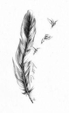 Feather n Birds Tattoo Stencil