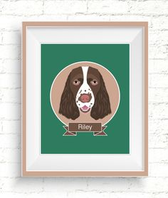 Personalized Pet Portraits are available in a variety of sizes. They make wonderful gifts for friends and family. #personalizedpetportraits #customdogportrait #springerspanielportrait #petportrait #customportrait #dogillustration #customillustration #custompetillustration #custompetportrait