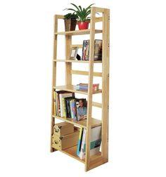 Folding Accent Shelf Shelves Wall Storage Unit Modern Bookcase Wood Book 147cm