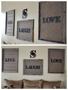 DIY Project #1! We couldn't find any artwork that we liked that was big enough to fit this huge wall... so... with a little creativity this is what I came up with! A little foam board, three different fabrics, some rustic frames, some metal plaques, and a few staples and tape... Voila! Love it!! Now our room is complete!!!