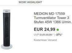"""Ebay: Turmventilator und Klimagerät für einen Tag reduziert https://www.discountfan.de/artikel/technik_und_haushalt/ebay-turmventilator-und-klimageraet-fuer-einen-tag-reduziert.php Unter den """"Wow!-Angeboten des Tages"""" von Ebay finden sich heute zwei Schnäppchen gegen die neue Hitzewelle: Zum einen gibt es einen Turmventilator für 24,99 Euro frei Haus, zum anderen ist ein Einhell-Klimagerät für 249,90 Euro zu haben. Ebay: Turmventilator und Klimagerät für"""