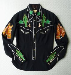 Frontex Vintage 1940s 40s Womens Western Shirt. Small S. Black w/ white rope piping. Cactus, horseheads, Calf Roper Chainstitch Embroidery