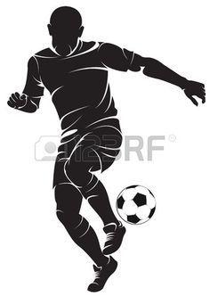 Vector Football Soccer Player Running Silhouette With Ball Silhouette Art Football Players Woodcut Art