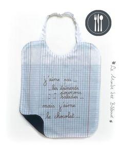 Bavoir de cantine en coton motif cahier d écolier doublé coton bleu  personnalisé avec écriture 75b02edd5c6