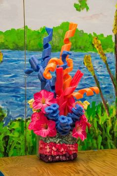 Coral reef out of pool noodles