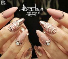 826 likes, 14 comments - Alina Hoyo Nail Artist ( in . - nails - Best Nail World Cute Acrylic Nails, Acrylic Nail Designs, Cute Nails, Pretty Nails, Nail Art Designs, Indian Nail Designs, Elegant Nails, Stylish Nails, Beautiful Nail Art