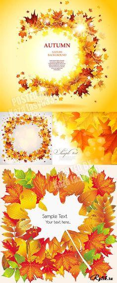 Рамка из осенних листьев - векторный клипарт. Autumn cards 10