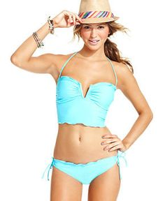 California Waves Swimsuit, Halter Tankini Top & Side-Tie Brief Bottom - Womens Swimwear - Macy's.