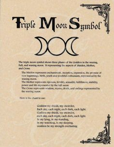 Book of Shadows page - Triple Moon Symbol & Goddess Chant Graphic voice for moon symbols Moon Symbols, Pagan Symbols, Moon Symbol Meaning, Moon Glyphs, Mystic Symbols, Goddess Symbols, Wicca Witchcraft, Magick, Wiccan Altar