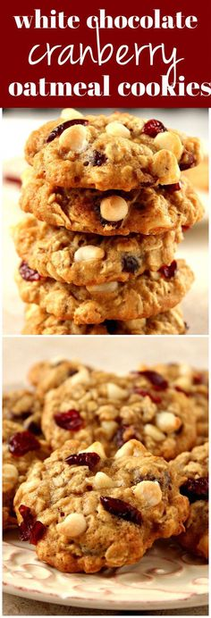White Chocolate Oatmeal Cookies Cranberry White Chocolate Oatmeal Cookies Recipe - chewy oatmeal cookies filled with dried cranberries and white chocolate chips! It's quick and easy to make a batch and enjoy with a glass of milk!Chewy Chewy may refer to: Chocolate Oatmeal Cookies, Oatmeal Cookie Recipes, Easy Cookie Recipes, Cookie Desserts, Easy Desserts, Baking Recipes, Delicious Desserts, Chocolate Chips, White Chocolate