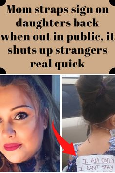 Mom straps sign on daughters back when out in public, it shuts up strangers real quick