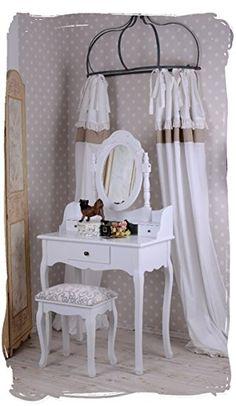 Schminktisch/Frisiertisch/Frisierkommode/Schminkkommode/Spiegeltisch im Rokoko-Stil für das heimische Frisierzimmer oder den Salon, inklusive Hocker - Palazzo Exclusive, 149,99 Euro auf Amazon.de