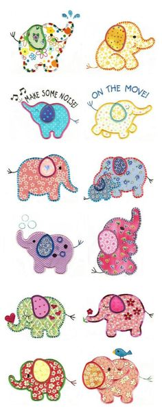 Roly Poly Elephants Applique and designs total Applique Templates, Applique Patterns, Applique Quilts, Applique Designs, Embroidery Applique, Quilting Designs, Machine Embroidery Designs, Owl Templates, Applique Ideas