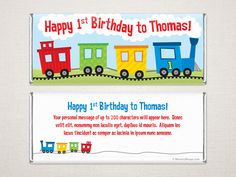 A bright, happy train adorns this charming birthday candy bar wrapper. This candy wrapper can be personalized and is available with either Canadian Hershey or Belgian Chocolate bars or just the wrappers. Chocolate Bar Wrappers, Candy Bar Wrappers, Personalized Chocolate, Birthday Candy, Happy 1st Birthdays, Belgian Chocolate, Bright, Train, Messages